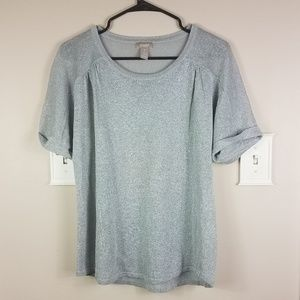 Chico's Silver SHortsleeve Top